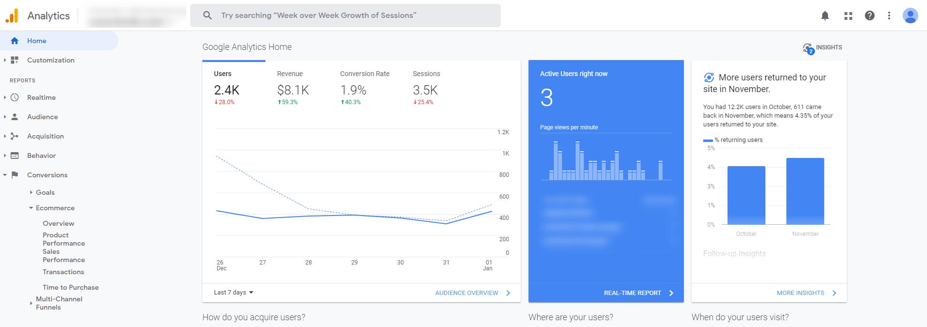 Google Analytics - Search engine optimization